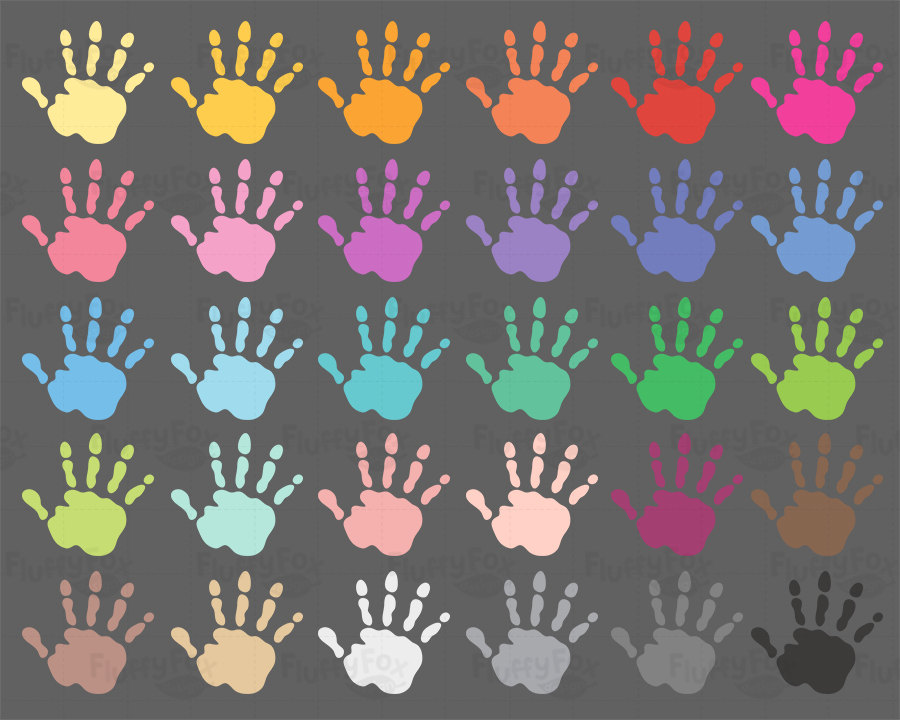 Handprint clipart rainbow Clipart Colorful Prints Hand