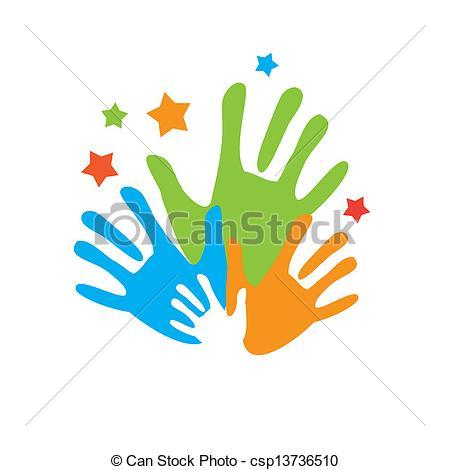 Handprint clipart unity hand logo Sign palm Vector of Vector