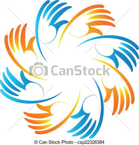 Handprint clipart unity hand logo Hands Teamwork hands logo card