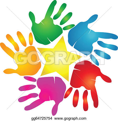 Handprint clipart unity hand logo Handprint star · Clip Royalty