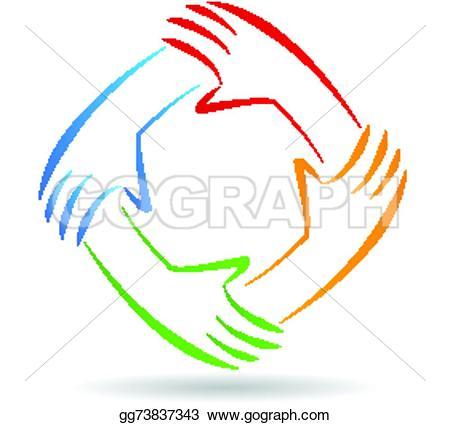 Handprint clipart unity hand logo Vector Stock vector identity Teamwork