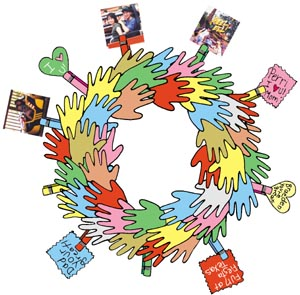 Handprint clipart wreath Kids with all group or
