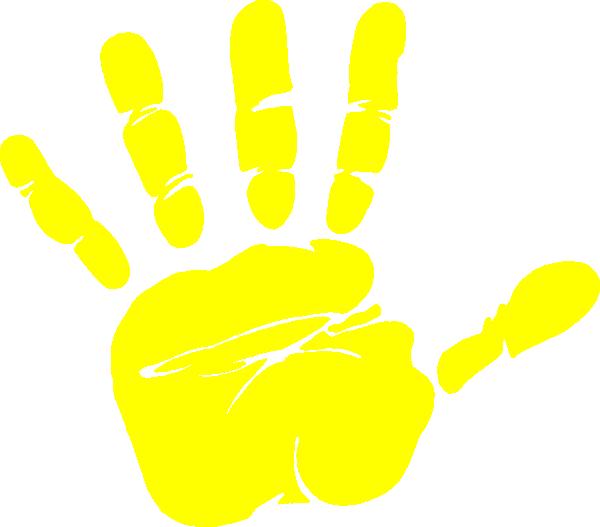 Handprint clipart yellow Art Clker  Print com