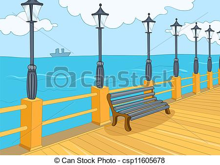 Seafront Seafront Harbor Cartoon
