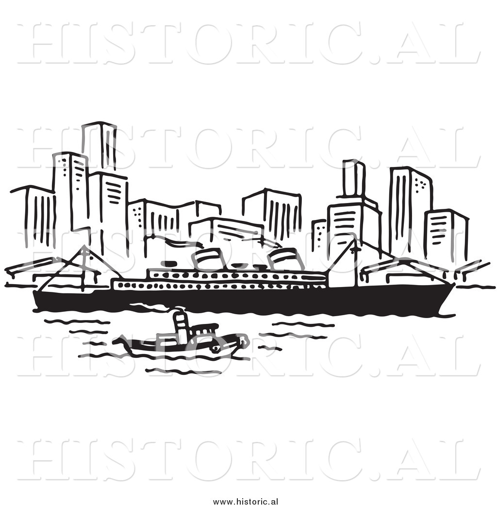 Harbor clipart black and white Boat Art Clipart Ship and