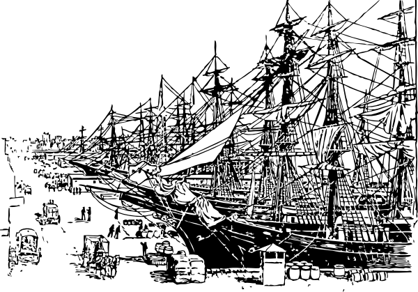 Harbor clipart black and white Ship Harbor Art Clipart Download