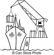 Harbor clipart black and white Under Art  crane 397