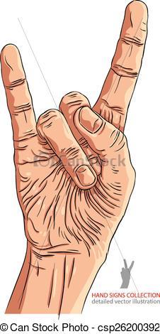 Hard Rock clipart sign hand logo Sign n roll Vectors EPS