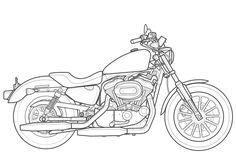 Harley Davidson clipart pencil sketch Coloring moreover Motorrad Pencil