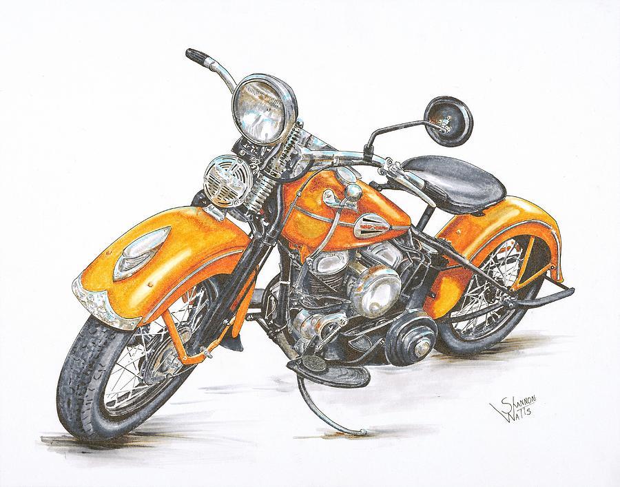 Harley Davidson clipart pencil sketch Pencil Print Flathead Flathead Davidson