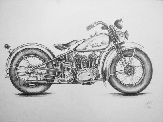 Harley Davidson clipart pencil sketch Davidson on by A From