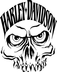 Harley Davidson clipart simple Face outline  harley skull