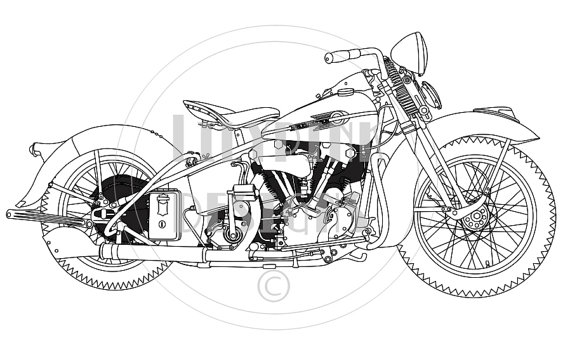 Harley Davidson clipart sketch Drawing drawing  line Google