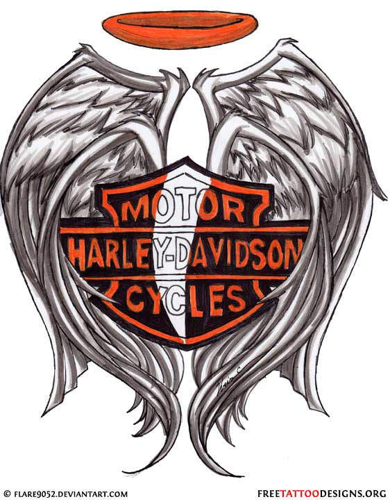 Harley Davidson clipart wing Tattoo halo design design