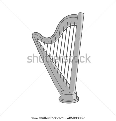 Harp clipart black and white Cartoon Isolated Harp Style collection