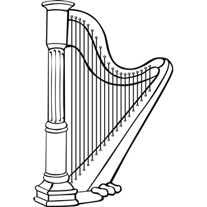 Harp clipart black and white Cliparts free Harp of clipart