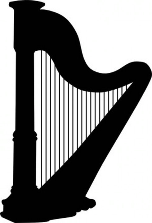 Harp clipart black and white Clipart and Harp Black Silhouette