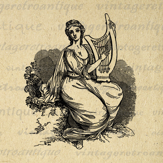 Harp clipart classic Classic Woman Digital Harp Graphic