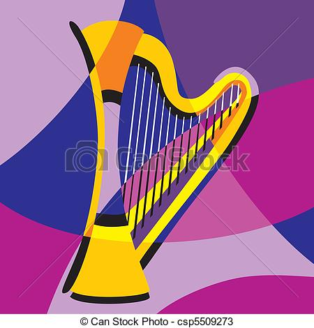 Harp clipart classic Vector color  of and