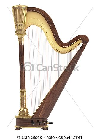 Harp clipart drawing On Drawing white Harp background