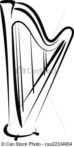 Harp clipart drawing Of Simple Clipart vector Vector