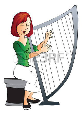 Harp clipart drawing Woman Playing giant Woman playing