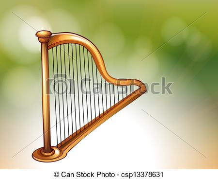 Harp clipart gold Golden isolated Harp Illustration white