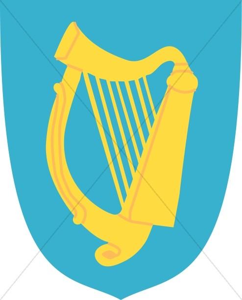 Harp clipart golden harp Blue Shield Music Harp Shield