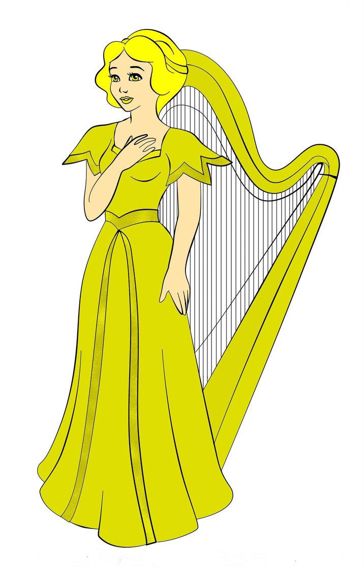 Harp clipart golden harp White as Harp white on