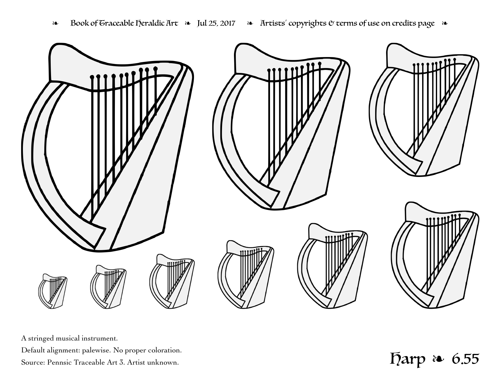 Harp clipart heraldic Art PNG Charge Harp Heraldic