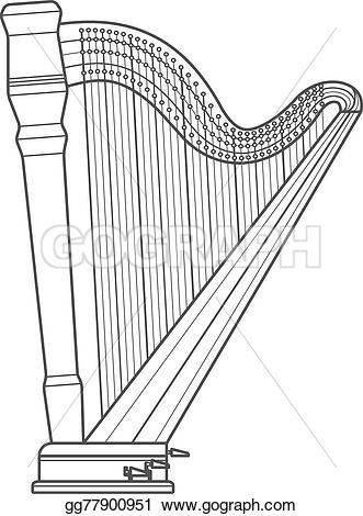 Harp clipart orchestral On Dark Vector contour grey