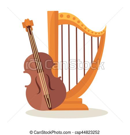 Harp clipart orchestral Of and white isolated on