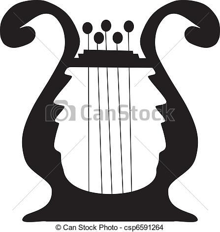Harp clipart silhouette Silhouette Clip harp of Search