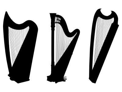 Harp clipart silhouette Harp Music Silhouette Zone Clipart