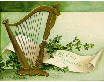 Harp clipart st patricks day Postcard Ellen Erin Gold Patricks