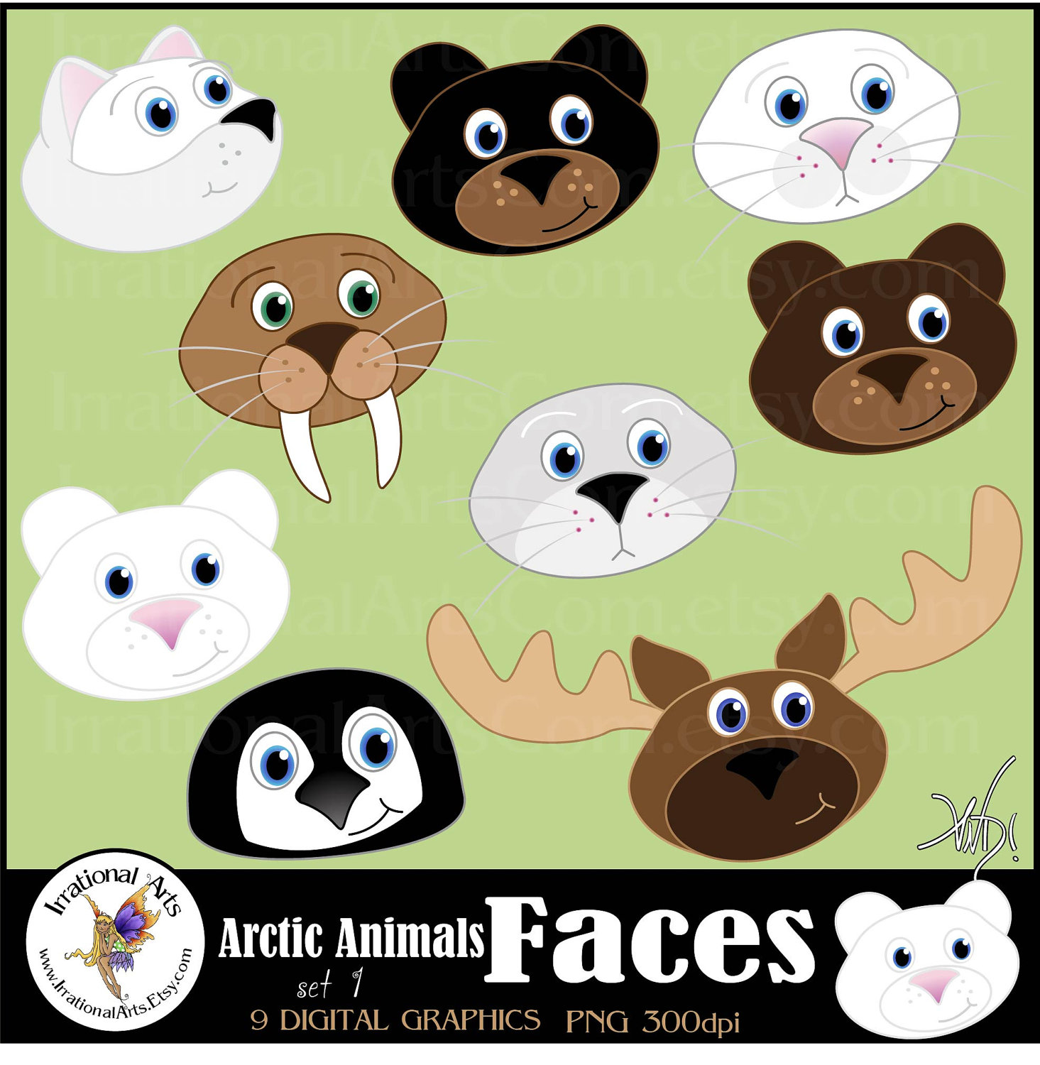 Polar Fox clipart arctic seal Arctic clipart set graphics 9