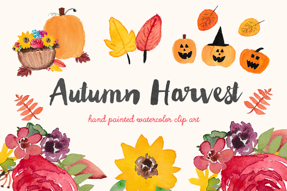 Harvest clipart art Harvest Creative Art Autumn Watercolor