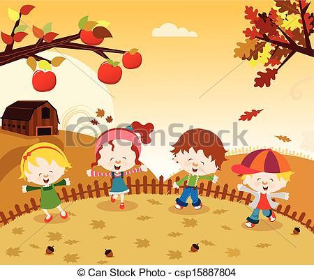 Harvest clipart autumn kid Enjoying csp15887804 csp15887804 of Vector