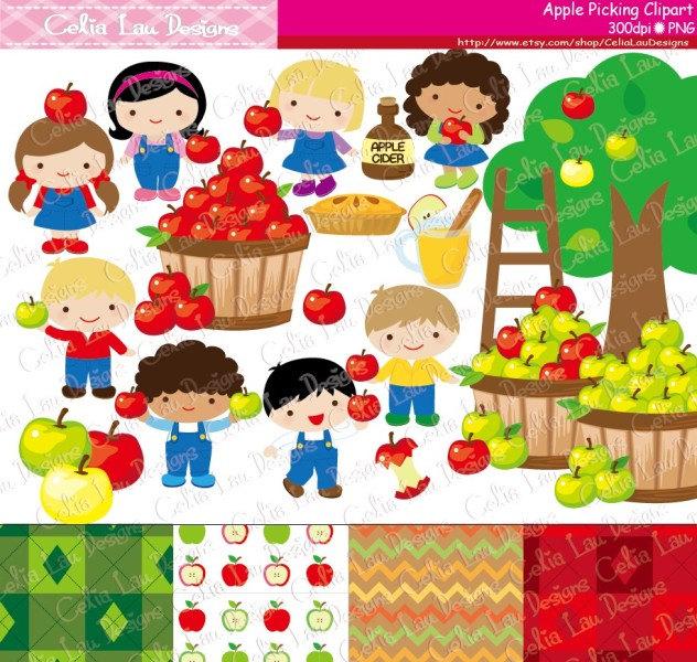 Harvest clipart autumn kid Elements Apple Autumn Apple art