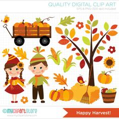 Harvest clipart autumn kid Wagons rakes wooden  piles