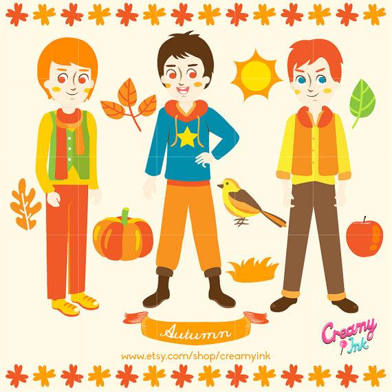 Harvest clipart autumn kid Boys Design Kids Clip Digital