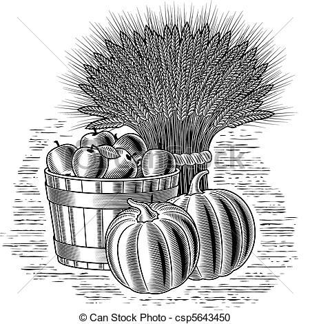 Harvest clipart black and white Card Retro  harvest b&w;
