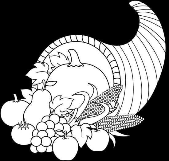 Harvest clipart black and white White black white and cornucopia