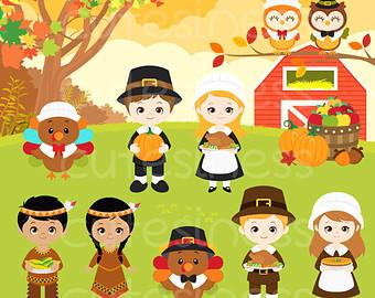 Pilgrim clipart food Thanksgiving Clipart Digital Etsy art