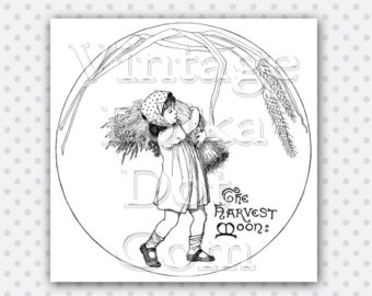 Harvest Moon clipart black and white Clipart Girl Fall Moon Digital