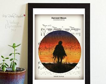 Harvest Moon clipart black and white Print Music moon Etsy Neil