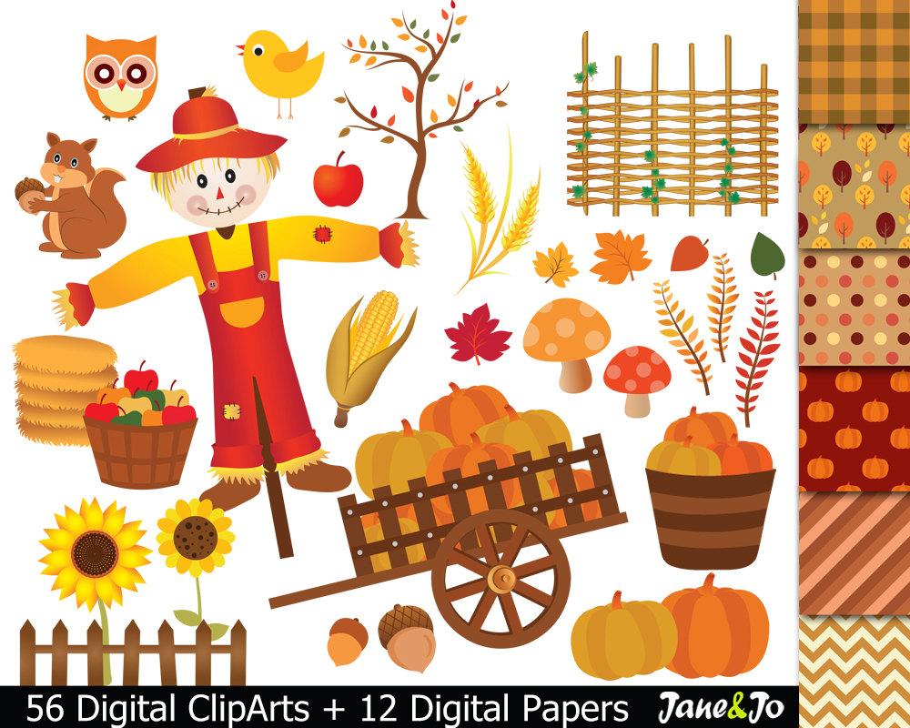Scarecrow clipart paper Harvest clip Autumn Clipart harvest