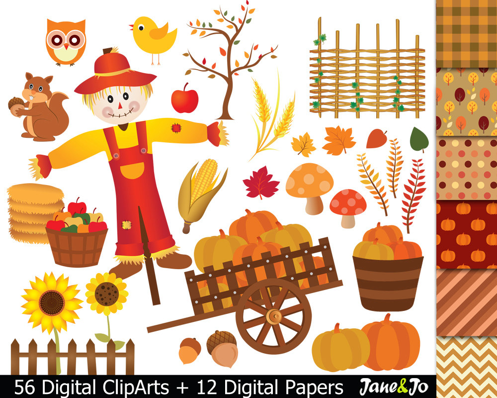 Harvest Moon clipart fall pumpkin Autumn fall harvest Clipart Digital