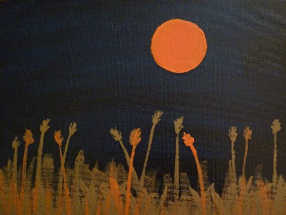 Harvest Moon clipart first quarter moon Painting Full by Painting Original