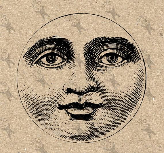 Lunar clipart harvest moon Digital Burlap Fabric Collage Paper
